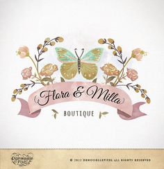 Logo Custom Premade Watercolor Butterfly Flowers Design