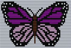 Purple and pink Butterfly Square Grid Pattern 60 Columns X 32 Columns (Pattern by me, Man in the Book) Butterfly Cross Stitch, Cross Stitch Rose, Cross Stitch Animals, Bead Loom Patterns, Beading Patterns, Embroidery Patterns, Cross Stitching, Cross Stitch Embroidery, Cross Stitch Designs