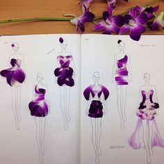 Creative Fashion Design Sketches Using Real Flower Petals | iCreativeIdeas.com Like Us on Facebook ==> https://www.facebook.com/icreativeideas