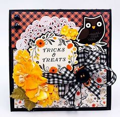 Handmade TRICKS & TREATS Halloween Owl & Flowers Greeting Card Bella Stitchery #Handmade #Halloween