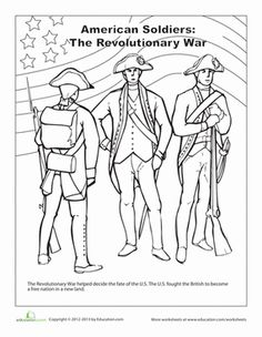 Revoltionary War George Washington And His Men Coloring Page