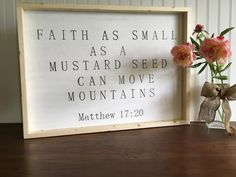 faith as small as a mustard seed farmhouse style sign by RustandBloomMarket on Etsy https://www.etsy.com/listing/473004099/faith-as-small-as-a-mustard-seed