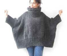Dark Gray Hand Knitted Sweater with Accordion Hood and by afra