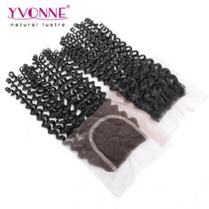 66.85$  Buy now - http://alih9t.worldwells.pw/go.php?t=32424010992 - Malaysian Curly Brazilian Human Hair Closure,100% Virgin Hair Lace Closure 4x4,Aliexpress Yvonne Hair Products,Natural Color 1B