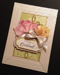 Elegant Celebrate Card with Fancy Floral by PinkPetalPapercrafts, $7.00