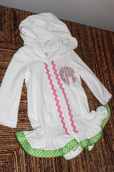 Girls White Terry cloth beach/pool coverup with by iheartthenest