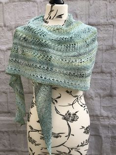 Handknit Cotton Lightweight Shawl Mint Green £30.00