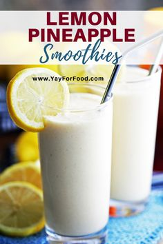 Wonderful sweet and tart pineapple meets the zesty flavour of lemon in this bright and healthy smoothie recipe. Enjoy it as a delicious breakfast or mid-day snack. Lemon Smoothie, Blackberry Smoothie, Smoothie Prep, Orange Smoothie, Juice Smoothie, Breakfast Smoothies, Fruit Smoothies, Healthy Smoothies, Pineapple Smoothies