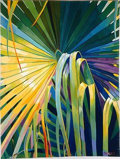 Sheila Hicks - PALM TREE, 1984-85. Wool, cotton, rayon, silk, linen - This tapestry is a prototype for a larger hanging made for King Saud University in Riyadh, Saudi Arabia. Hicks made the preparatory work, or cartoon, in her studio in Paris. The tapestry was then hand-woven by the artist with the help of three assistants in the Atelier Philippe Hecquet in Aubusson, France, following the traditional weaving methods established at the Aubusson workshops in the early sixteenth century.