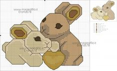 Simile, Plastic Canvas, Beading Patterns, Pixel Art, Stitch Patterns, Pattern Design, Cross Stitch, Bunny, Teddy Bear