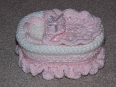"""Tiny Crocheted Crib / Cot / Bed to fit a 2.5"""" to 3.5"""" Ooak, Reborn Baby Doll"""