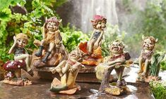 6 Pixie Figurines Statues Ornaments Home and Garden Decor Elves Whimsical 3 in. Garden Statues, Garden Sculpture, Dragon Statue, Baby Dragon, Flower Hats, Enchanted Garden, Hanging Ornaments, Goblin, The Hobbit