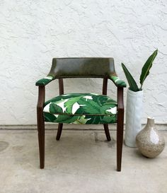 50's Palm Leaf Upholstered Chair // Office Chair // Anywhere Chair on Etsy, $165.00