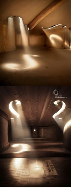 Photographs taken from the inside of musical instruments, making them look like large and spacious rooms - the inside of a Cello.