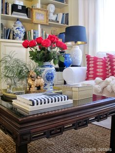 Great living room with blue and white ceramics