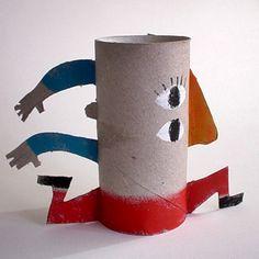 Portalápices con rulos de cartón