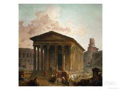 La Maison Carée de Nîmes, avec les arènes, l'amphithéâtre et la Tour Magne. 1796. Hubert Robert.