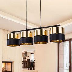 Lampa wisząca Hilton, czarna/złota, 4-punktowa Energy Efficiency, Hanging Lights, Black Gold, Bulb, Ceiling Lights, Lighting, Home Decor, Energy Conservation, Pendant Chandelier