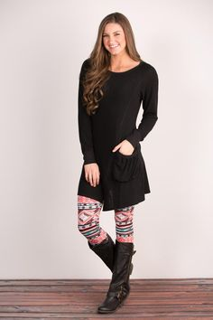 Pink Coconut Boutique | Very Dear To Me Tunic - Black