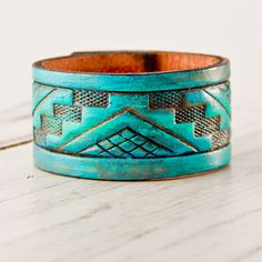 Turquoise Jewelry Bracelet Cuff Tribal Native by rainwheel on Etsy, $37.00