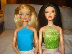 Barbie Doll Separates - Two pack halter tops in lime green with gold sparkle and bright solid blue - es230
