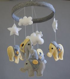 Baby Crib Mobile- Baby Mobile- Baby Elephant Mobile- Gender Neutral- Yellow and Gray Felt Nursery Mobile (Pick Your Colors) Could totally make this. Elephant Mobile, Baby Elephant, Baby Crib Mobile, Baby Cribs, Baby Bug, Gender Neutral Baby, Wreath Ideas, Baby Sewing, Little People