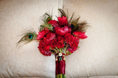Beautiful Blooms - Rich Red Bouquet with Peacock Feather Accents