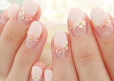 30 Glam Wedding Nail Art for Bride Ideas 11 Kawaii Nail Art, Cute Nail Art, Cute Nails, Pretty Nails, My Nails, Smart Nails, Daisy Nails, Korean Nail Art, Korean Nails