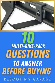 """To get the right bike rack, ask questions such as: """"Does the rack hold the right quantity of bikes?"""" Think about dismounting the bikes: """"Is there room to get the bike down from a full rack?"""" Think about the bike widths: """"Are the hooks adjustable so you can move the bikes left to right within the rack space?"""" Think about the bike tires: """"Do you need a rack that can handle fat tires, kids' bikes, or several heavy bikes?"""" Garage Wall Organizer, Garage Wall Storage, Ladder Storage, Ball Storage, Ceiling Storage, Bicycle Storage, Garage Walls, Garage Organization, Bike Hooks"""