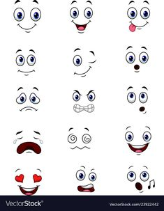 Cartoon faces expressions set Royalty Free Vector Image tutorial reference faces painting tutorials paintings tips faces reference reference Cartoon Faces Expressions, Funny Cartoon Faces, Cartoon Eyes, Cartoon Drawings, Free Vector Images, Vector Free, Vector Icons, Vector Graphics, Face Painting Tutorials