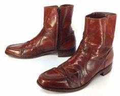 Men's Vintage Brown Rust Leather Zipper Beatle Ankle Boots US Sz 10