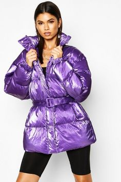 Womens Pearlescent Belted Puffer Jacket - purple - 10 - Wrap up in the latest coats and jackets and get out-there with your outerwearBreathe life into. Purple Coat, Purple Rain, Winter Suit, Warm Outfits, Spring Outfits, Puffy Jacket, Padded Jacket, Winter Jackets, Winter Coats