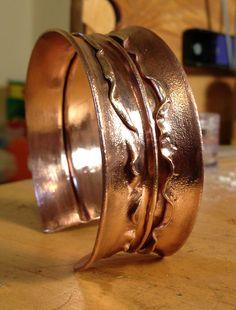 Fold formed copper cuff by Dara Villonco