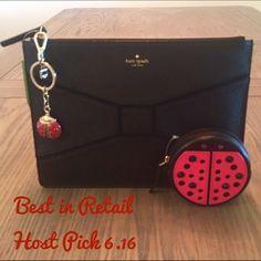 "20% Off Sale Kate Spade Black Envelope Clutch ✨Kate Spade Black Envelope Clutch Pebble Leather✨ Measurements : 11"" W x 8"" H kate spade Bags Clutches & Wristlets"