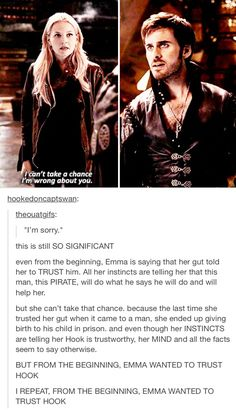 I NOTICED THE SAME THING! From the very first time I saw that ep I thought it was funny that Emma 'remembered' Neal when she met Hook (I know the writers did that, but it's symbolic). From that moment on, I've been a CaptainSwan shipper. It just seemed right for them to be together after that!!! :D