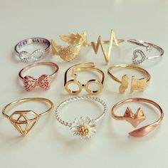 Cute rings...I SEE A HARRY POTTER ONE!!!!!!!!!!!!!!!!