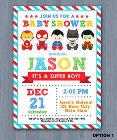 Hey, I found this really awesome Etsy listing at https://www.etsy.com/listing/240741441/superhero-baby-shower-invitation-super