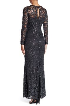 Long Sleeve Lace Gown by Marina on @nordstrom_rack