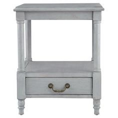 """Wood end table in grey with a bottom display shelf.  Product: End tableConstruction Material: WoodColor: GreyFeatures: One shelfDimensions: 24"""" H x 20"""" W x 20"""" DCleaning and Care: Wipe with damp cloth"""
