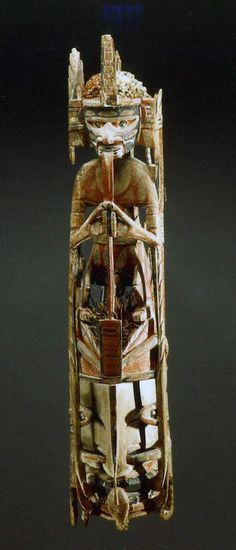 Nouvelle-Irlande , Bois, coquillages, Sculpture Malangan XIX° siècle (New Ireland, Papua New Guinea)