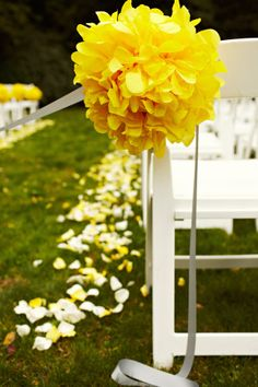 Maybe we can get some white and yellow petals to line the aisle!