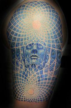 Neat creepy tattoo with Alex Grey artwork Alex Grey Tattoo, See Tattoo, Tattoo You, Tattoo Time, Face Tattoos, Sleeve Tattoos, Tatoos, Blue Ink Tattoos, Great Tattoos