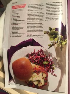 Salmon burger with pickled Asian slaw