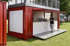 Barcontainer build from Shipping Container Shipping Container Restaurant, Shipping Container Buildings, Shipping Container Homes, Container Coffee Shop, Container Shop, Container Home Designs, Container Conversions, Building A Container Home, Container Architecture
