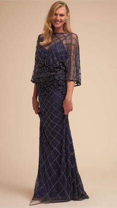 d71a50b24ac Navy Blue Beaded Blouson Gown for a Mother of the Bride Mother Of Groom  Dresses