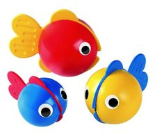 Bubble Fish – Look, listen, feel and pour! Plenty of bath time fun with these three boisterous bath fish. The bodies suck in water and blow out bubbles, and each soft fin has a different structure.Set of 3 primary colored fish. Fish always float upright in water Make bubbles under water. Safe for babies #fish #bath #babbies #bubblefish #bath #toys #AmbiToys