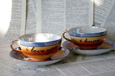 I love you I know blue crane teacup and saucer set by geekdetails,