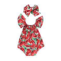 Nice Newborn Baby Girls Clothes Watermelon print short sleeve round neck Bodysuit Bowknot Headband 2pc cotton casual summer set - $8.52 - Buy it Now!