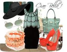Ciao Bella!, created by modaotero on Polyvore One of my many dreams is that one day I will visit the bella Italia! My favorite Fashion is la moda Italiana because of it's classic, colorful and chic style you can't find anywhere else. So I thought, if I was away for the weekend in Italy, what would I wear? xoxo Jessica www.modaotero.com