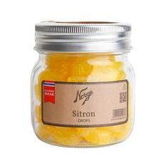 Sitrondrops på Norgesglass - Hyttefeber.no Candle Jars, Candles, Frisk, Coconut Oil, Protein, Glass, Food, Products, Drinkware